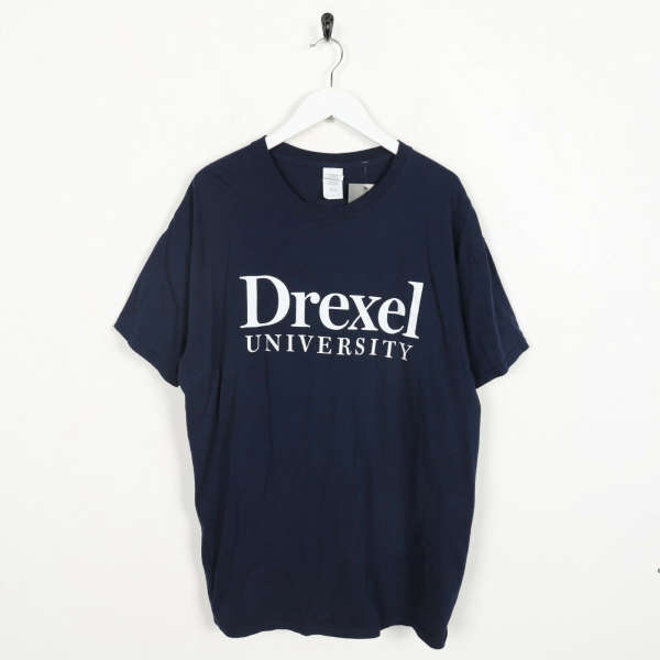 Vintage USA Print Drexel University Big Back Logo T Shirt Tee Navy Blue | XL