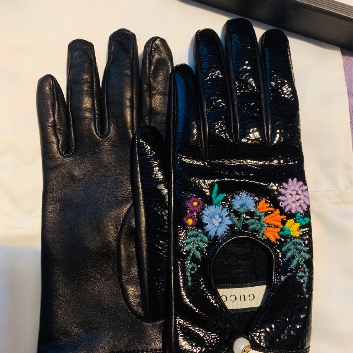 Gucci black leather lady Gloves