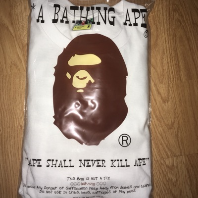 "Bape White Long Sleeve ""Apes Together Strong"""