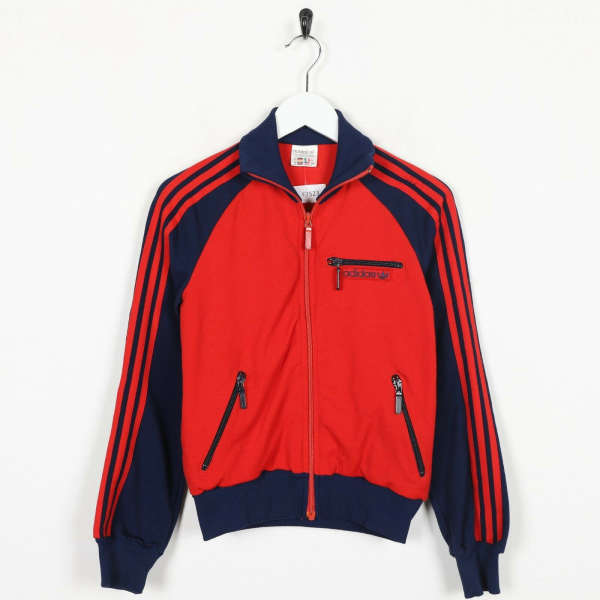 Vintage Women's 80s Jugoslavia ADIDAS Tracksuit Top Jacket Red Blue | Small S