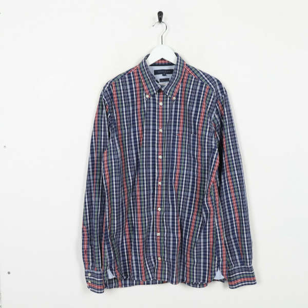 Vintage TOMMY HILFIGER Small Logo Long Sleeve Check Shirt Blue | Large L