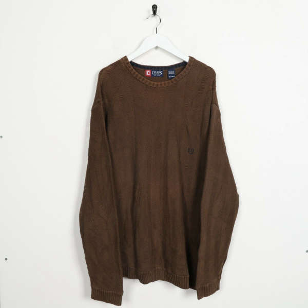 Vintage CHAPS RALPH LAUREN Small Logo Knitted Sweatshirt Jumper Brown | XL