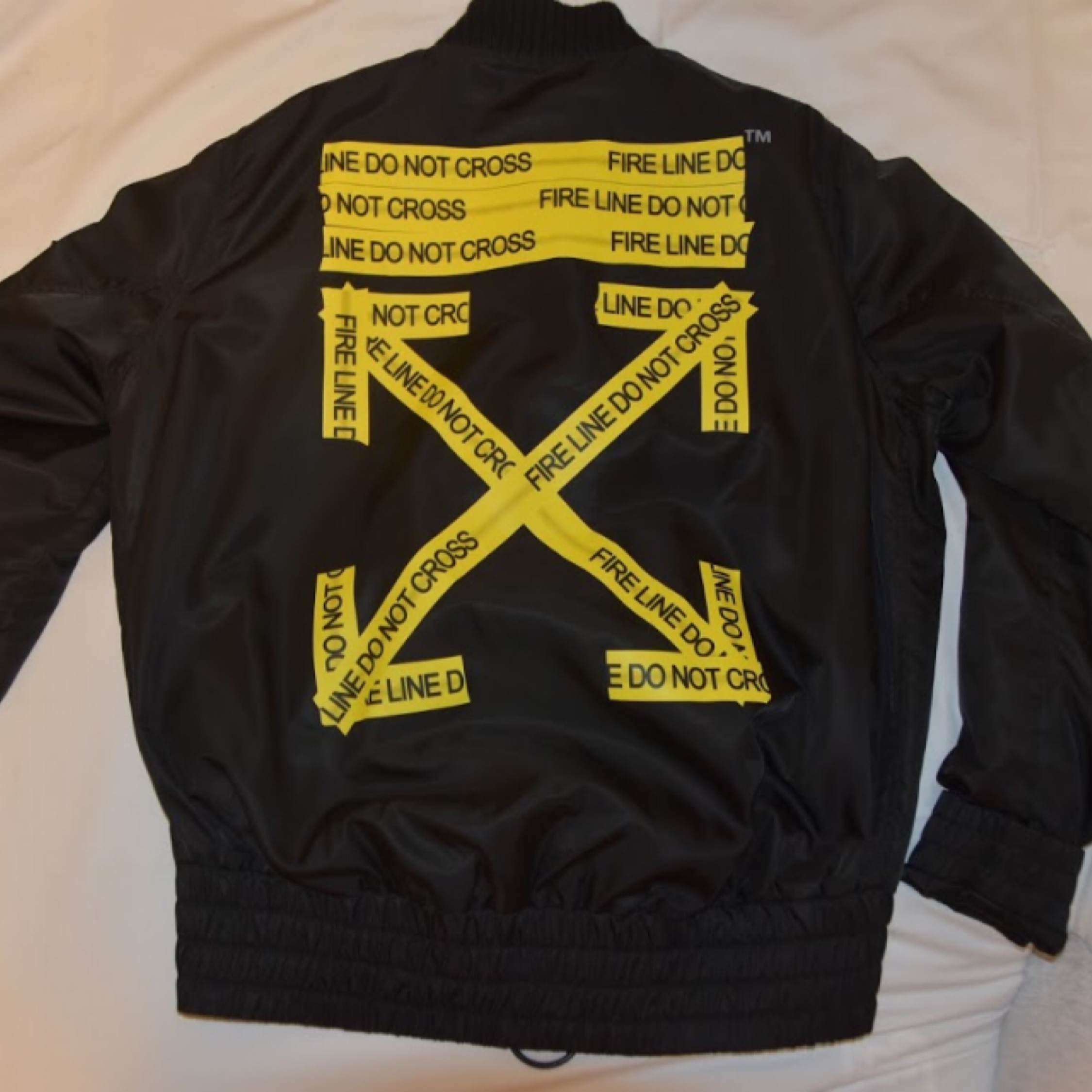 Off White Fire Tape Bomber Down Jacket