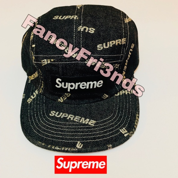 Supreme Denim Logo Camp Cop Black