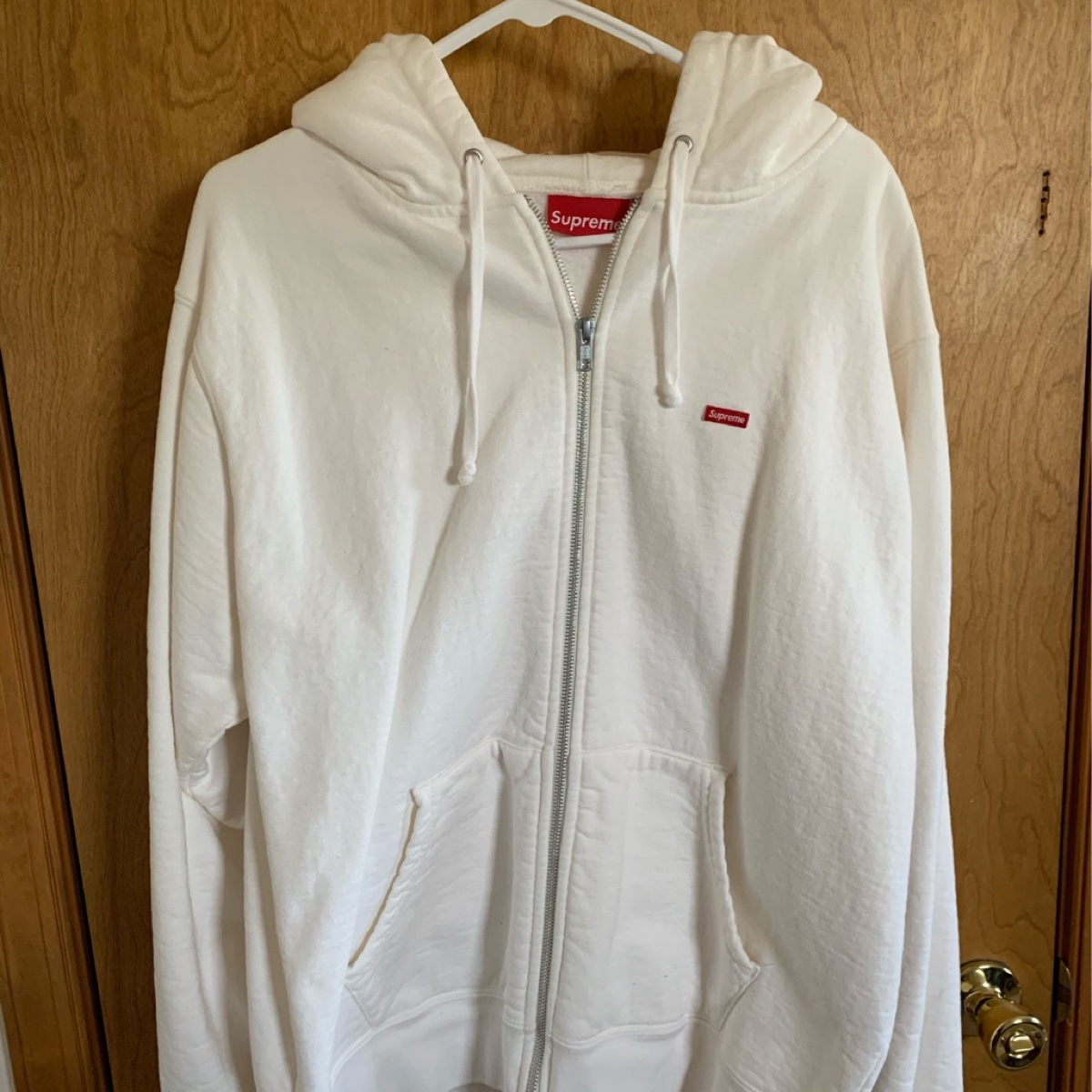 Supreme Small Box Zip up Sweatshirt White