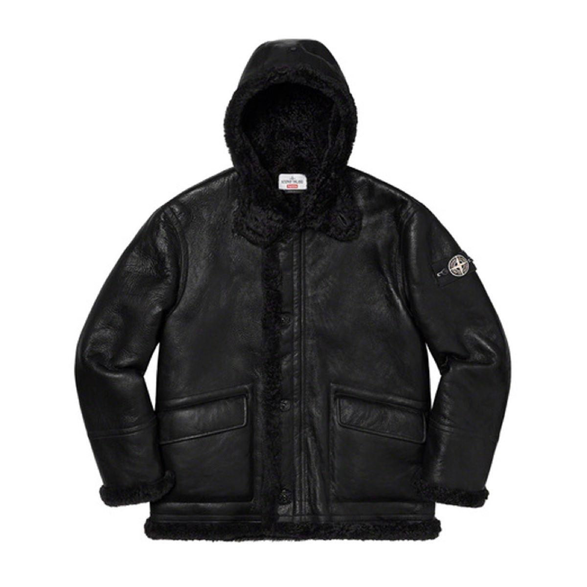 Supreme Stone Island Hand Painted Hooded Shearling Jacket Black