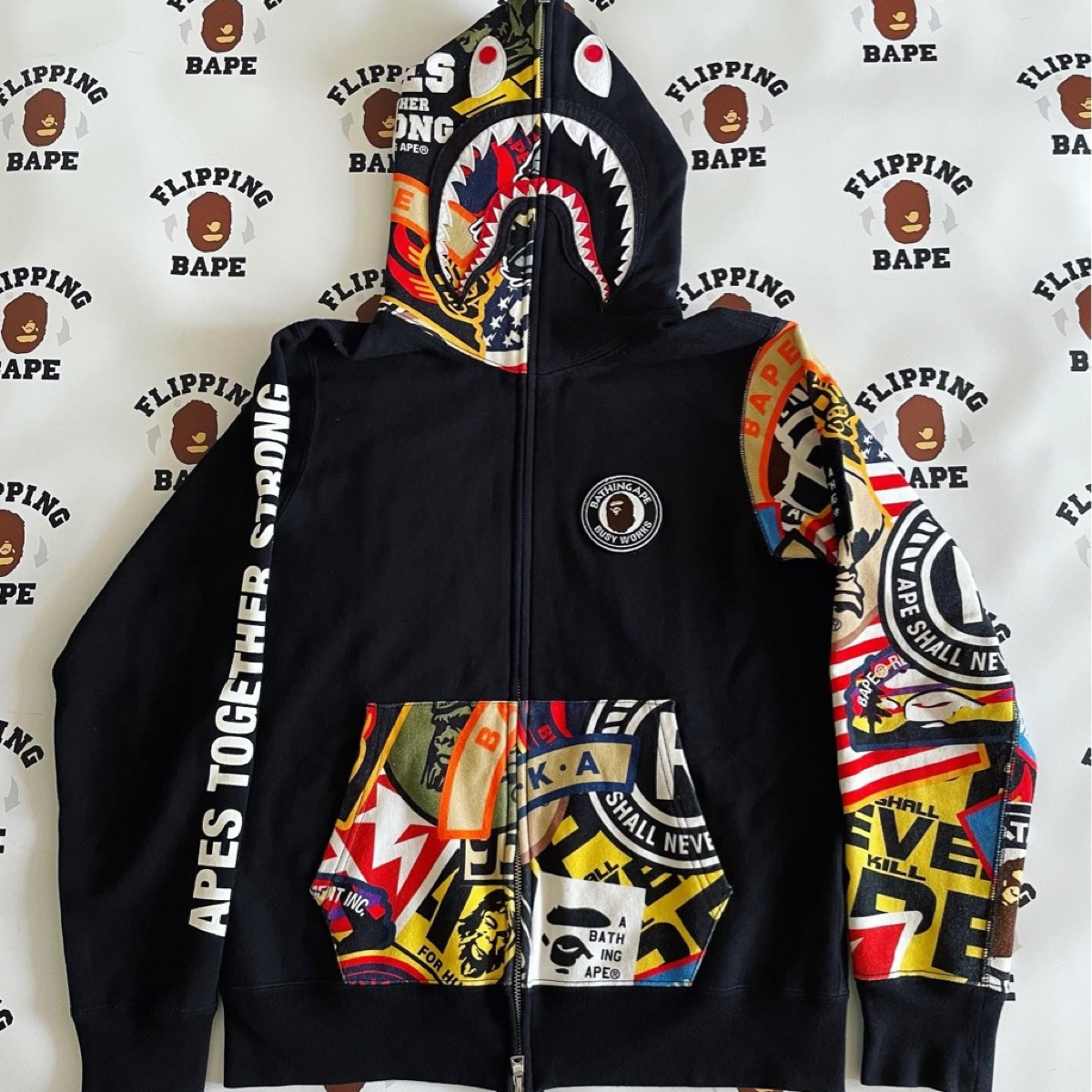 BAPE PATCHED SHARK FULL ZIP HOODIE