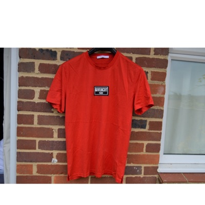 Givenchy Red Box Logo Distressed T-Shirt